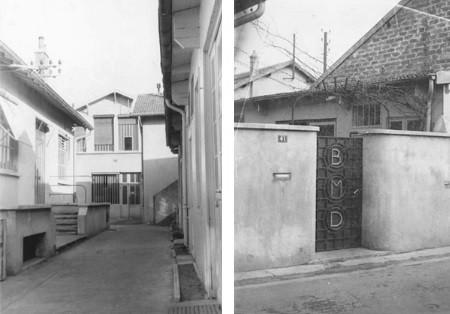 """Portail d'entrée """"BMD"""" (Boitiers de Montres du Dauphiné) de la Communauté en 1946. Cour intérieur en 1950."""