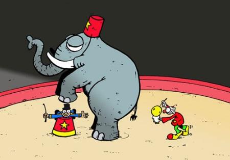 Le dompteur et l'éléphant